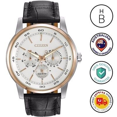 New Citizen Eco-Drive Mens Watch Silver Case Rose Trim Black Leather Bu2016-00A