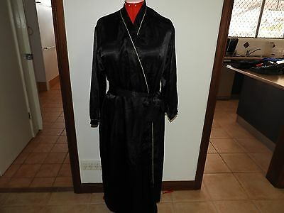 Loveable Vintage Size S Black Gold Trim Full Length Wrap Dressing Gown Robe Euc