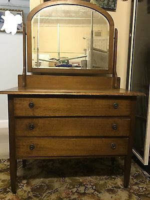 Oak 3 Drawer Dresser With Mirror For Early 1900's