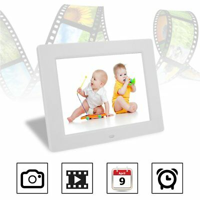 "8"" Digital Photo Frame LCD Backlight Picture Video Player Remote Control White"