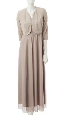 Women's Formal Dresses w Long Sleeve Jacket Size 16 Gold Mother of the Bride NWT