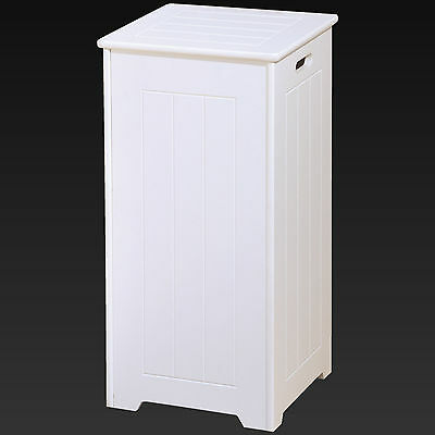 Tall White Wooden Square Laundry Bin Basket Stylish Locking Hinges MDF