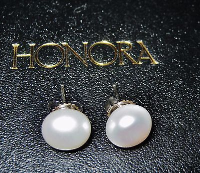 Honora Cultured Freshwater Pearl 9Mm White Stud Earrings Sterling Silver New Qvc