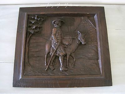 French Carved Wood Panel Solid Oak Country Scene Man & Horse Antique Carving