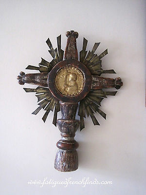 18th Century French Processional Cross Gilded Centre Hand Carved Wood - Rare