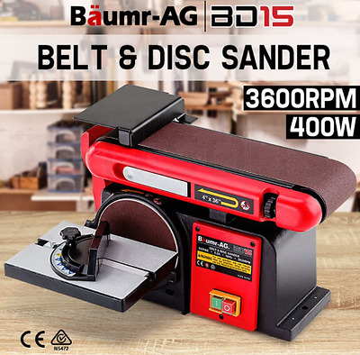 Powerful 400W Belt Disc Sander Bench Mount Grinder Belt & Disc Bench Sander