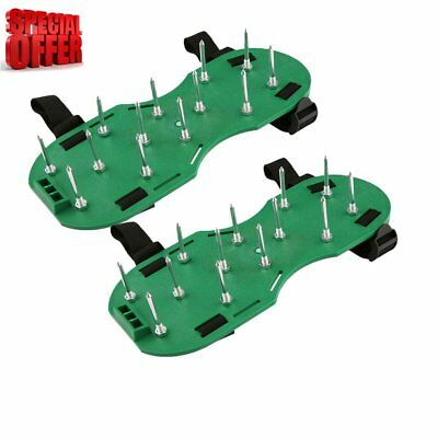 UK 30 x 13cm Green Spikes Pair Lawn Garden Grass Aerator Aerating Sandals Shoes