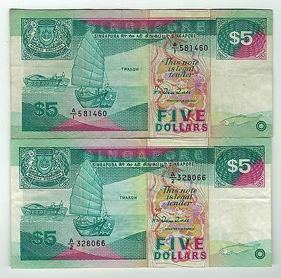 Lot of 2x Singapore $5 First Prefix A1 and A2 - Scarce
