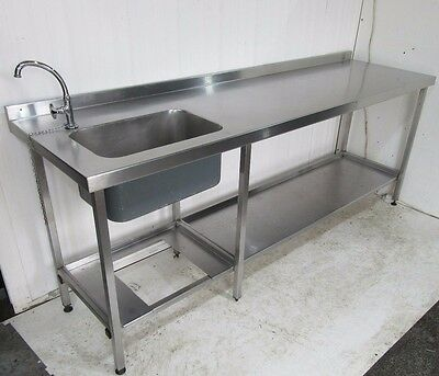 STAINLESS STEEL COMMERCIAL TABLE with HANDWASH SINK and  UNDERSHELF STORAGE