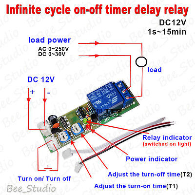 Infinite Cycle ON OFF Loop Timer Delay Module DC 12V Time Relay Switch Board
