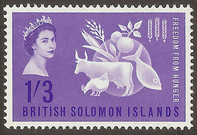 BRITISH SOLOMON ISLANDS 1963 1/3d FREEDOM FROM HUNGER (MLH)