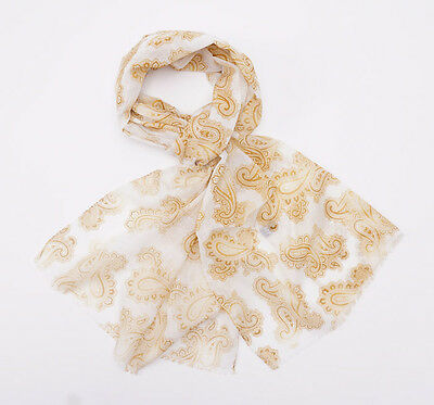 New $350 BATTISTI NAPOLI Lightweight Superfine Wool-Silk Scarf Gold Paisley