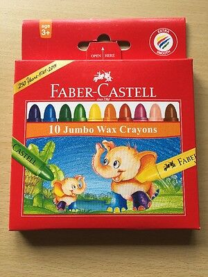 New Faber Castell Jumbo Wax Crayons 10 Pack Easy To Hold Extra Smooth Washable