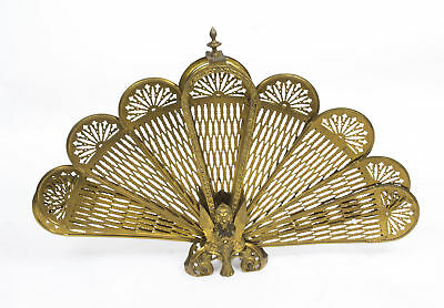 Vintage brass peacock fan fire screen 20th C