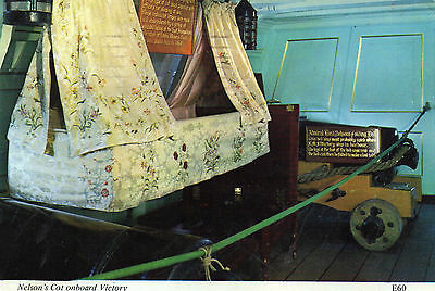 postcard Portsmouth posted on board  H.M.S Victory sailing ship  Nelson's Cot