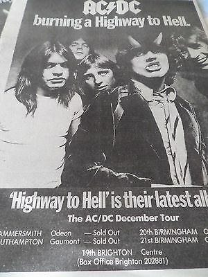"""Ac/dc """"highway To Hell"""" Album And Sold Out Tour Dates Advert From 1979 A3"""