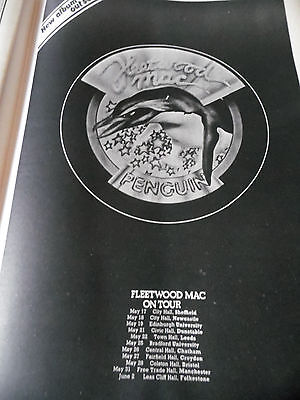 """Fleetwood Mac From 1973 """"penguin"""" Tour Dates And Gig Venues Full Page Superb"""