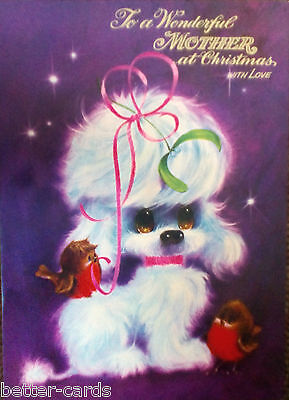 GIANT SIZE Happy Christmas Mother Vintage 1970s Greeting Card ~ Merry Poodle Dog