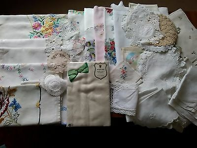 Vintage Table Linens Job Lot 60 Pieces.