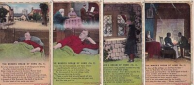 """WWI """"The miner's dream of home"""" Four card set from Bamforth & Co. Ltd-1913"""