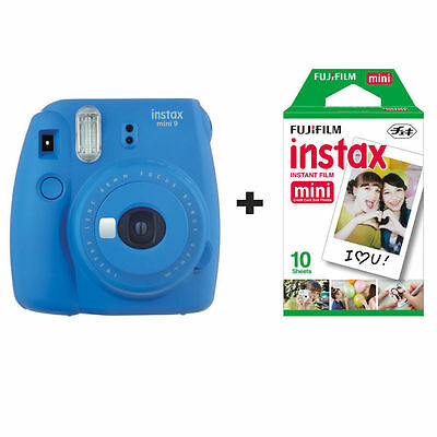 Fuji Fujifilm Instax Mini 9 Instant Camera with 10 Shots - Cobalt Blue