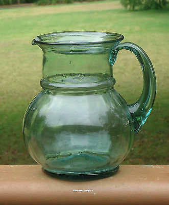 Lovely Vintage Hand Blown 1.5Litre Green Glass Jug with Optical Bevelled Sides