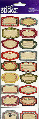 "EK Success 63 Piece ""VINTAGE LABEL PACK"" 6 Sheets x Scrapbooking Stickers - V78"