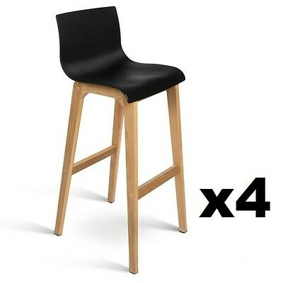 4x Oak Wood Bar Stools Wooden Dining Chairs Kitchen Side Plywood Black 3608
