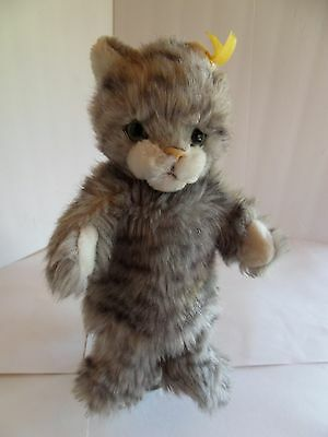 Steiff cat hand puppet button flag made in Germany 1604