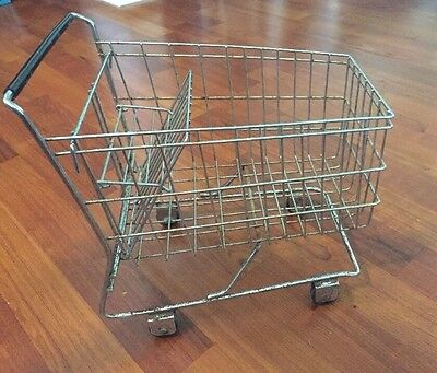 Vintage Metal Miniature Shopping Cart for Store Display Dolls Primitive
