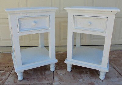 2x Cool White Wooden Bedside Tables*** GET 15% off with code: CRACKER