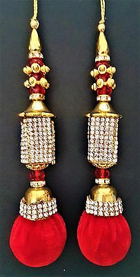 Beautiful Red Diamonte Decorative Tassels Latkans Crafts Saree Blouses ~ 1 Pair