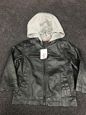 SPROUT Boys Hooded Faux Leather Winter Jacket BNWT size 2