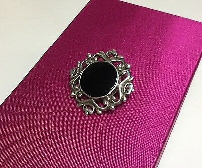 Silver and Onyx brooch