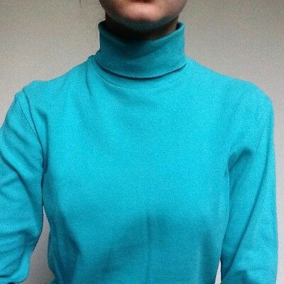 Vintage bright blue roll neck long sleeve t-shirt Size 12
