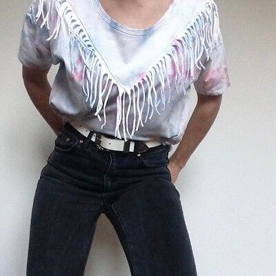 Vintage white tee with all over tie dye and western style fringe Size S (10)