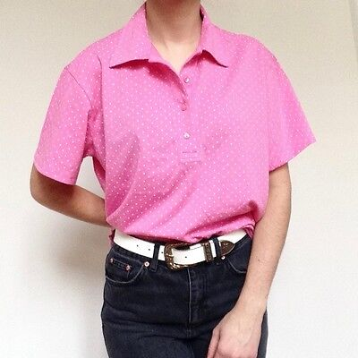 Pink vintage polo neck tee with all over white pinspots Size 16