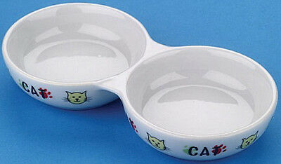 Cat Bowl Food / Water Twin Dish Pet Feeding Saucer - Porcelain Lazy Bones 22cm