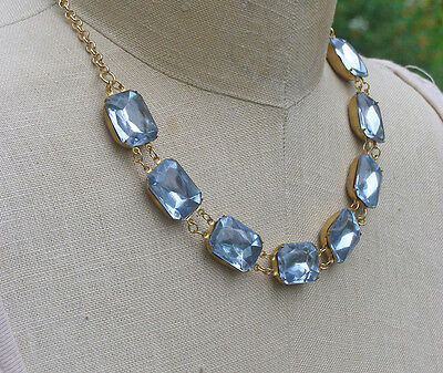 Vintage Blue Aqua Glass Collet Collar Necklace Georgian Wintour Inspired Jewelry