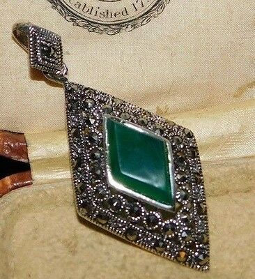 Green Onyx & Marcasite Sterling Silver, Vintage Art Deco Style Pendant