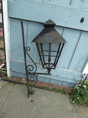 Vintage Reclaimed Heavy Wrought Iron Lantern and Wall Bracket 32 Inches Long