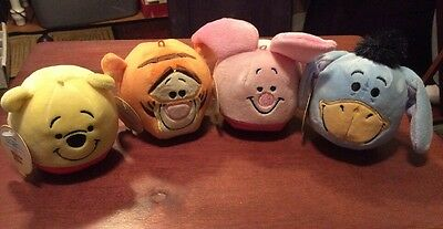 Set Of 4-Hallmark Fluffballs-soft plush Decorations/Ornaments Winnie The Pooh