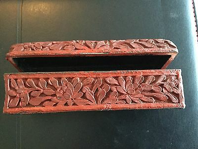 Antique Chinese Cinnabar Trinket Box 1920-1930s, Fine Floral Carving