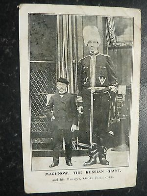 Antique Postcard 1906 - Machnow The Giant Russian And His Manager