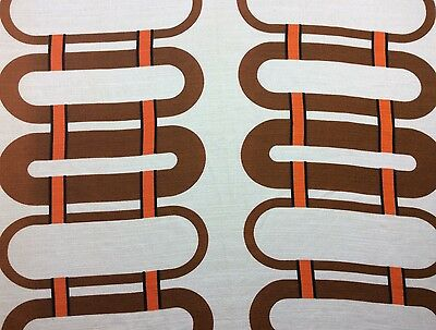 VINTAGE RETRO GEOMETRIC OP ART ORANGE BROWN PAIR CURTAINS 1970s 70s