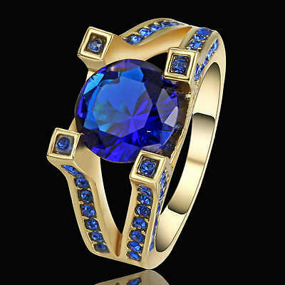 Blue Sapphire Ring Yellow Rhodium Plated Jewelry For Women/Men's Gift Size 9