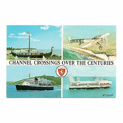 Channel Crossings Over The Centuries Hovercraft - Boats Aircraft - Kent Postcard