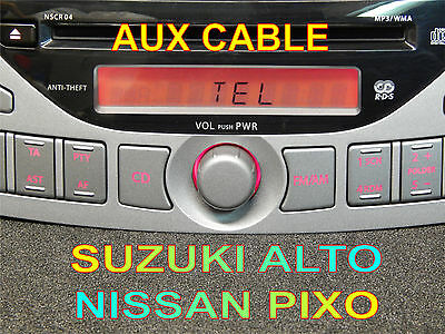 SUZUKI ALTO NISSAN PIXO CAR RADIO NSCR-04 AUX CABLE mP3 ipod iphone smartphone