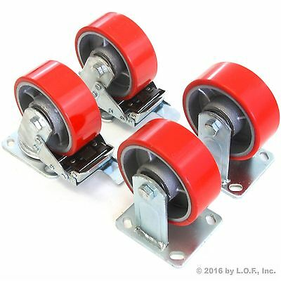 "4 Plate Casters 5"" Heavy Duty Cast Iron Hub Non Skid Mark Wheels 2 Swivel Brake"