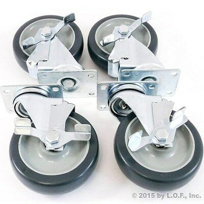 "Set of 4 Plate Casters with 5"" Polyurethane Wheels All Swivel with Brakes Base"